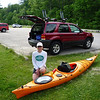 Audrey and her pretty kayak shortly before launching it on Devil's Lake.
