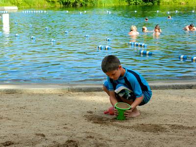 Austin starting a sand castle