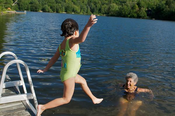 Wee!!!  Cyane taking a long walk off a short dock.
