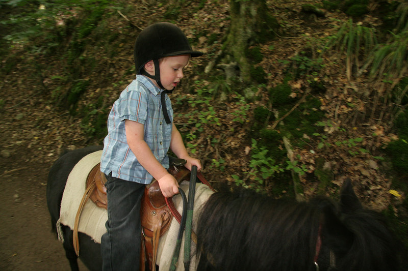 "Pony riding at the ""Promenade de Cheval"" between St. MArie aux Mine and our Gite"