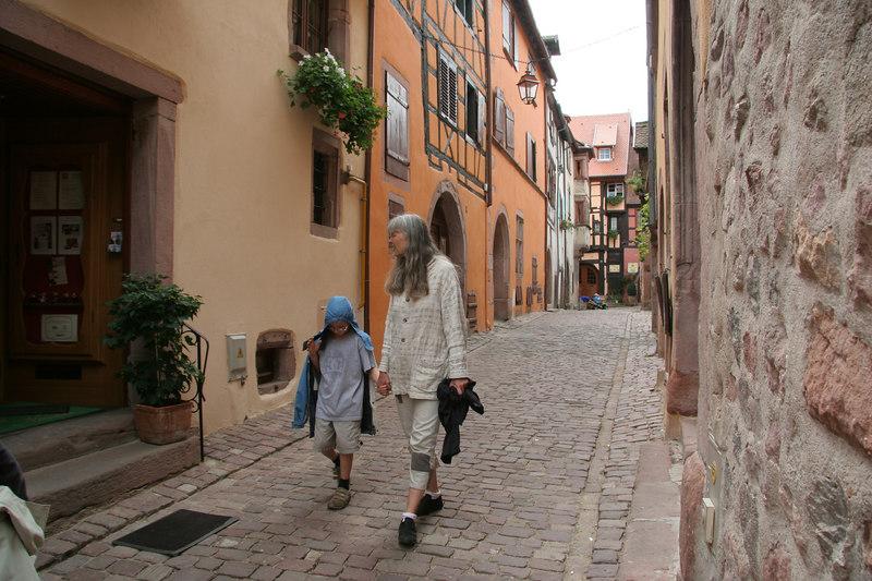 Shawn and Uta strolling in Riquewihr