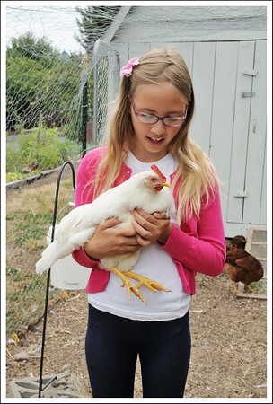 Frankie with a white hen