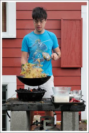 Making yakisoba on the outdoor gas wok.