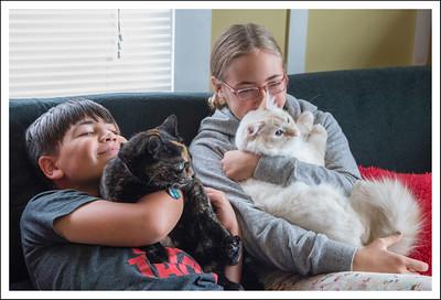 Harriet and Haku with the kids.