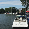 Overview of the Vermilion River with my boat docked at Quaker Steak and Lube.