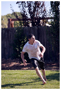 Long, playing catch football.  Don't know where he got all that energy....