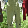 Olive Cable Pants: 100% lambswool<br /> rolled up ankles
