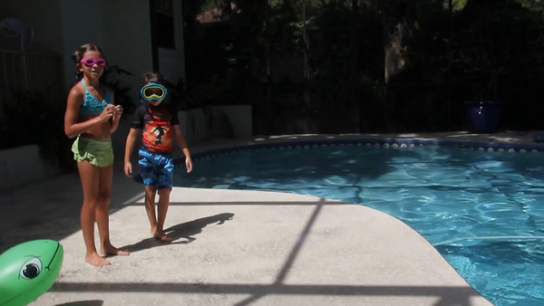 Swimming at the house 4Jul15