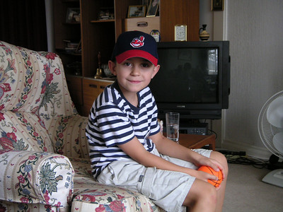 Philip - in his new Cleveland Indians baseball cap from Uncle John