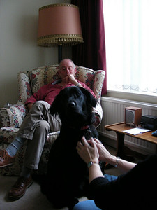 Mike and Maud in Anne's living room in Swindon.