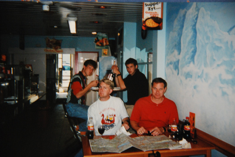 Besancons eating Doners, 1999.