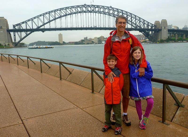 Simon, Alex, and Sophie in front of  the Harbor Bridge
