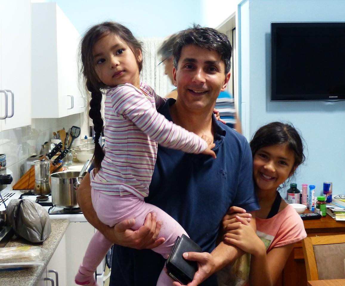 Dan + daughters  Alyssa and  Naomi at Heidi's house in Maroubra
