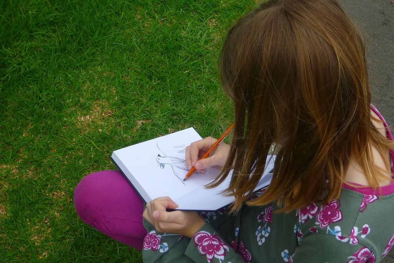 Sydney - Botanical Gardens - Sophie sketching