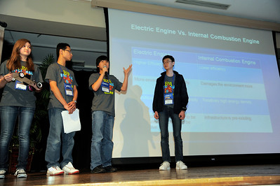 Sydney Wallace, Jason Yu, Austin Jang and ming Liu from Shahala Middle School in Vancouver, Wash., present their Lithium-ion battery powered race car design documents at the 2012 National Science Bowl in Washington, D.C., Saturday, April 28, 2012. Photograph by Jack Dempsey, U.S. Department of Energy, Office of Science   For More Information: National Science Bowl Press Room (301) 961-2854 DOE Public Affairs, (202) 586-4940 Email: National.Science.Bowl@science.doe.gov