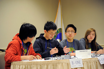 Austin Jang, Ming Liu, Kobi Hsu, and Sydney Wallace representing Team Shahala Middle School in Vancouver, Washington, participate in the academic competition during the 2012 National Science Bowl in Washington, D.C., Saturday, April 28, 2012. Photograph by Jack Dempsey, U.S. Department of Energy, Office of Science   For More Information: National Science Bowl Press Room (301) 961-2854 DOE Public Affairs, (202) 586-4940 Email: National.Science.Bowl@science.doe.gov