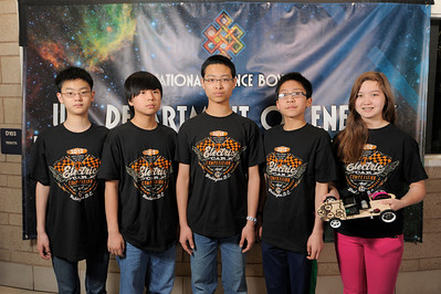Ming Liu, Austin Jang, Jason Yu, Kobi Hsu, and Sydney Wallace representing Team Shahala Middle School in Vancouver, Washington, pose for their official team portrait at the Lithium-Ion battery Powered Model Car Challenge at the 2012 National Science Bowl in Washington, D.C.,Sunday, April 29, 2012. Photograph by Jack Dempsey, U.S. Department of Energy, Office of Science   For More Information: National Science Bowl Press Room, (301) 961-2854  DOE Public Affairs, (202) 586-4940