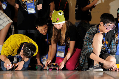Ming Liu and Sydney Wallace representing Team Shahala Middle School in Vancouver, Washington, compete at the Lithium-Ion battery Powered Model Car Challenge during the 2012 National Science Bowl in Washington, D.C.,Sunday, April 29, 2012. Photograph by Jack Dempsey, U.S. Department of Energy, Office of Science   For More Information: National Science Bowl Press Room, (301) 961-2854  DOE Public Affairs, (202) 586-4940  Email: National.Science.Bowl@science.doe.gov