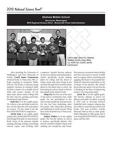 Shahala Middle School ~ Vancouver, WA Left to right: Jason Yu, Sydney, Wallace, Austin Jang, Ming Liu, Kobi Hsu, Coach James Cantonwine