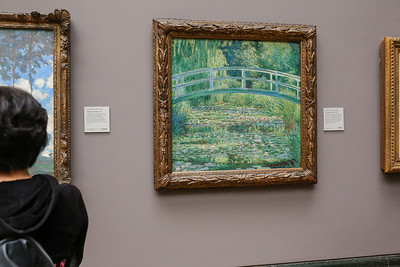 """Claude Monet at National Gallery: """"The Water-Lily Pond, 1839; For more than 30 years at the end of his life. Monet found the subject matter for his art at the gardens of his home in Giverny. The water lily pond there and the Japanese bridge he constructed across it were the principal motifs in a group of 17 paintings he began in 1899, including his work."""""""
