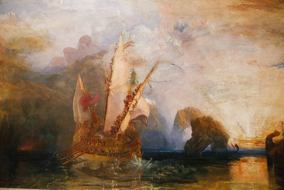 """""""Ulysses deriding Polyphemus - Homer's Odyssey, 1829; The subject is taken from Homer's Odyssey. Ulysses and his companions have blinded the one-eyed giant Polyphemus, seen in the mountains to the left. The rising sun shows the just discernible outlines of the horses pulling the chariot of the sun god, Apollo. Transparent sea nymphs swim in front of the ship"""" by Joseph Mallord William Turner at the National Gallery"""