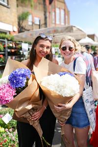 Caroline and Mackenzie at the Columbia Road Flower Market