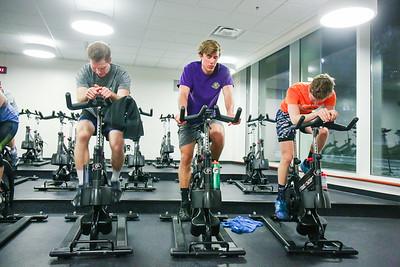 Junior Engineering major JT Sorrells, sophomore Tanner Wernecke, and sophomore ISAT major Cole Sorrells finish a sprint together
