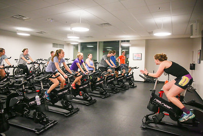Senior Justice Studies major Jessica Bachelder leads the cycle workout