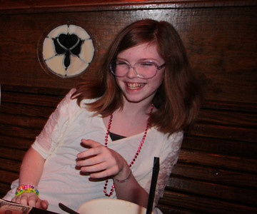Sydney celebrating her 12th birthday at McGuires resturant