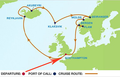 Our cruise route starts in Southampton, England. And goes north to Reykjavik, the capital of Iceland.