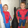 THE COUSINS IN THEIR SPIDERMAN SUITS...WILLIAM HAS TONS OF MUSCLES...
