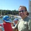 Grampie William and Alex nearing Uto island...