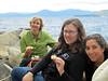 three cousins at lakeside picnic