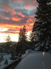 Fiery sunset with deck snow accumulation in foreground.  (Sandy photo)