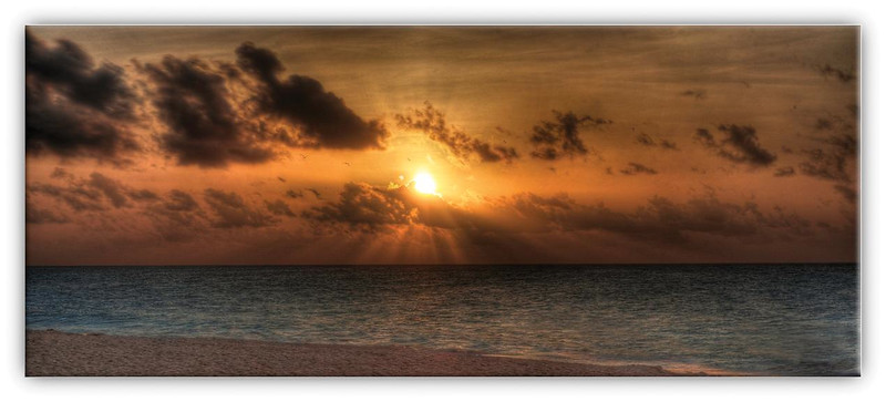 Sunrise on beach in Playa Del Carmen, Mexico