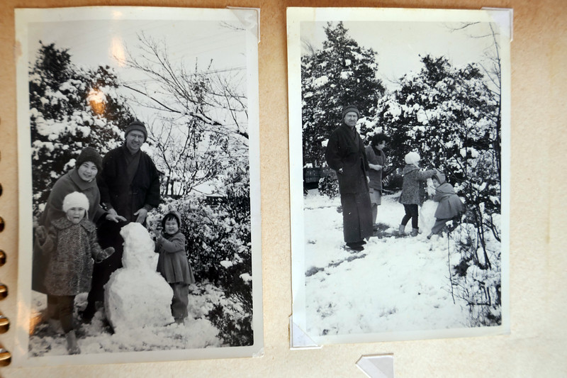 Making a snowman in our front yard in Yokohama. Emery wearing a kimono. Right photo shows who Grace thinks is live-in housekeeper #1.