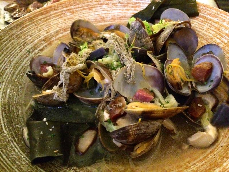 Saka-Mushi / sake-steamed asari clam / smoked bacon / yuzu / nappa cabbage / shaved konbu seaweed  17
