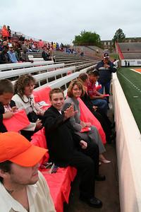 Awaiting President Bush's arrival in T. Boone Pickens Stadium.