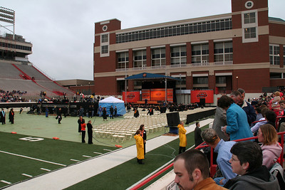 Awaiting President Bush's arrival in T. Boone Pickens Stadium.