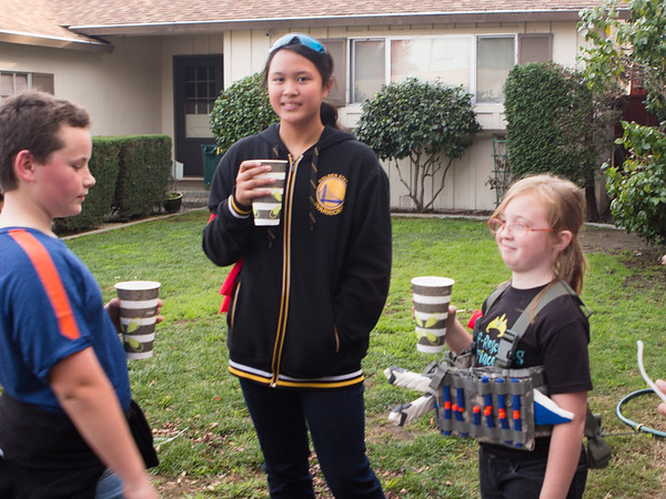 (Combatants break for hot coco. Nicole's Nerf Battle Birthday Party)