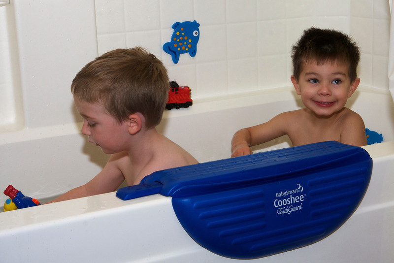 Buster and Donovan in the bath