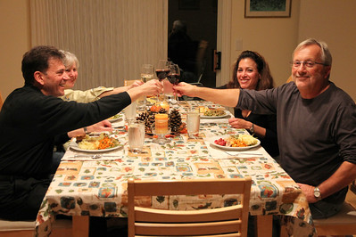 Clockwise from the left: Danny & Debbie, Debbie & Jonathan offer a toast.  I put down my camera and join in.   The feast begins.  Delicious.  Satisfying.  Meeting and then exceeding my high expectations.   We all had a great time.
