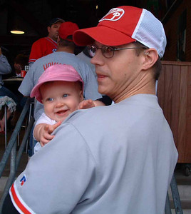 Proud Uncle Mike with Rebecca at first baseball game