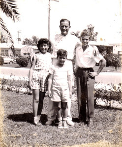 Me, Dad, Richard, and David, in Miami Beach, in the early 1950s
