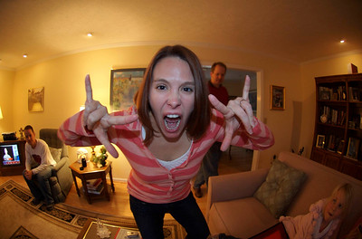 Rock on, it's Christmas! Taken by Rose, with the new fish-eye lens.