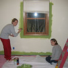 "Callie and Kim adding ""grass"" to our master bedroom"