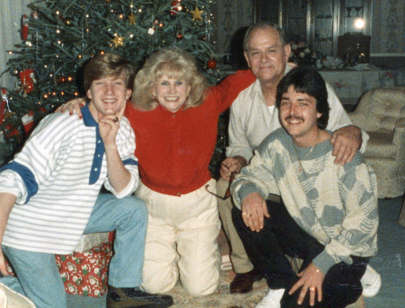 Nelson and Johnny with grandparents - Christmas, 1987