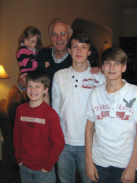 Tom with the kids<br /> October 2010