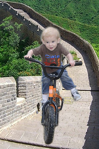 Clate riding Great Wall in China