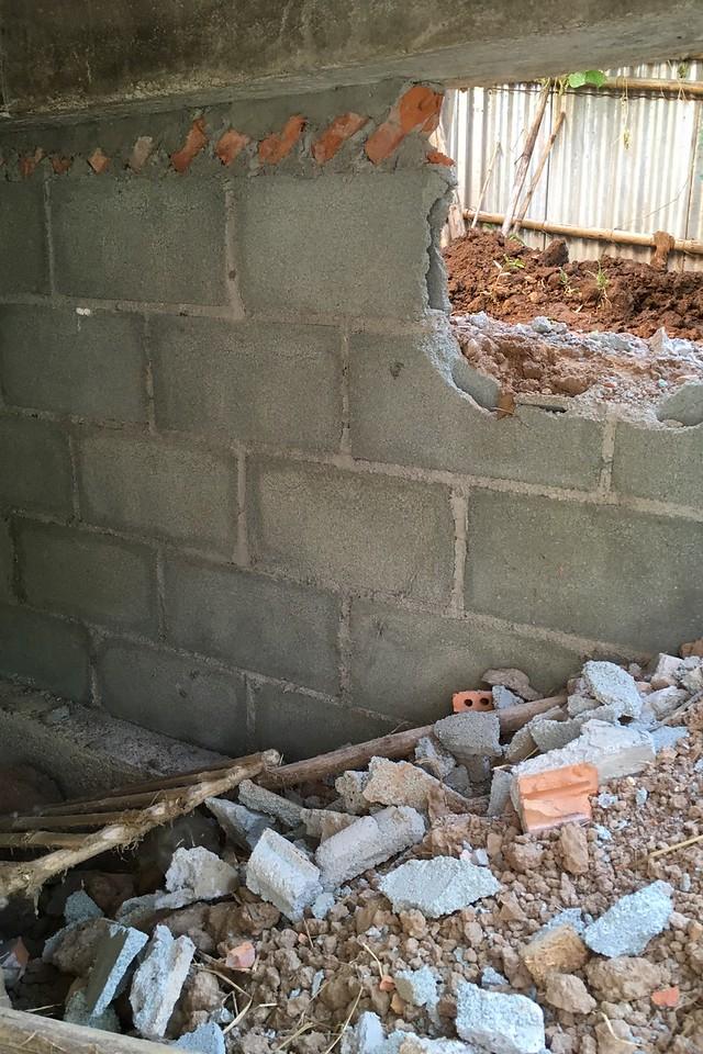 Sinking foundation repairs underway